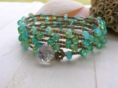 Beachy Bohemian jewelry, crochet wrap bracelet necklace - Aqua Splash -  surfer girl, sparkling aqua, sea colors