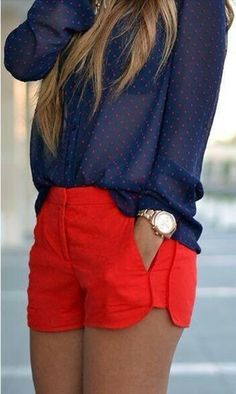 Red shorts/red dots blue marine blouse