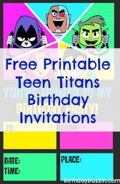 Use these Free printable Teen Titans go birthday invitations to invite the superheroes to your party! The templates feature Robin, Cyborg, Raven, Starfire and Beast boy with colorful background to match each characters style. The invitations measure 5×7. When printed, there will be two invitations per page. There is also a space to write in …