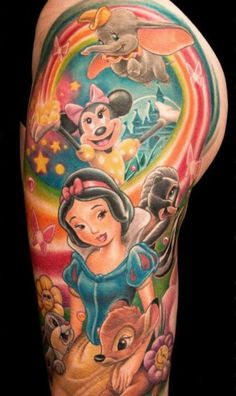 I've always thought of getting a sleeve and this... THIS IS AMAZING! Would be perfect coming from my Cinderella shoulder tattoo :).