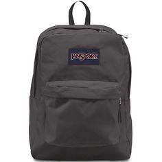 Jansport SuperBreak Backpack ($36) ❤ liked on Polyvore featuring bags, backpacks, grey, backpack, jansport daypack, daypacks, jansport backpack y jansport