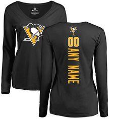 Pittsburgh Penguins Fanatics Branded Women's Personalized Backer Long Sleeve T-Shirt - Black
