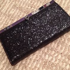 Black glittery clutch wallet! Gorgeous glittery wallet clutch. Has zipper compartment for change, slots for cards and slots for dollars as well! Brand new, never used! smoke free home fast shipping Bags Wallets
