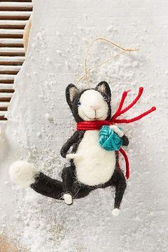 Happy Cat Ornament - RED (black & white cat) anthropologie.com