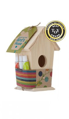 Buy Design your own Bird's House - Craft Kit at Mighty Ape NZ. Seedling: Design your own Bird's House Create a special home for your feathered friends with our adorable DIY bird house kits. This Seedling Kit c. Bird House Plans, Bird House Kits, Projects For Kids, Craft Projects, Crafts For Kids, Birdhouse Craft, Birdhouses, Wooden Bird Houses, Diy Décoration