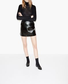 Bi-fabric skirt in curly wool and vinyl - Skirts & Shorts - The Kooples