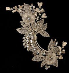 Ivory Lace and Rhinestone Jeweled Bridal Wedding Hair Clip Accessory