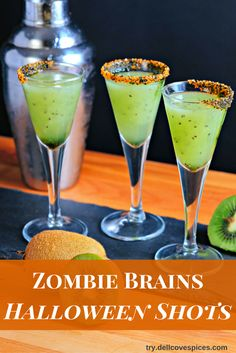 Zombie Brains Shots: This ghoulish alcoholic cocktail drink is a nod to the traditional orange and black decorations of Halloween. The cocktail is poured into shot glass rimmed with a wreath of our Halloween blend of sparkling sugar and is made with fresh kiwis and vodka. Fun for Halloween wedding signature drinks, too! Click on the link to get the recipe and get a DIY tutorial on how to sugar rim your glasses at http://try.dellcovespices.com  via @dellcovespices