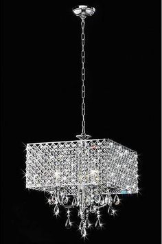 """This Warehouse of Tiffany RL5623 Zarah Crystal Chandelier creates a glamorous sparkling pendant that complements your modern look. Made of metal & clear crystal, stands H16 x W17 L18, uses 4x60W type E14 (Including 40"""" chain). #ad #chandeliers"""