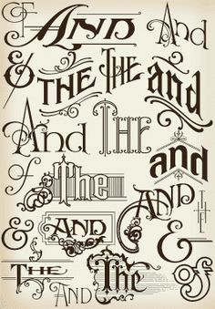 Ornate Hand Lettered Thes And Ands