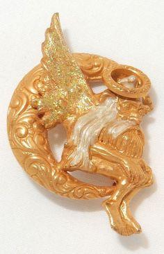 Vintage Kirks Folly Fairy Dust Winged Gnome W/ Enamel on Crescent Moon Pin  #KirksFolly
