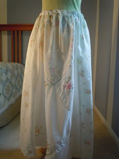 REDUCED PRICE, Upcycled clothing, long hankie skirt, recycled, 67. $25.00, via Etsy.