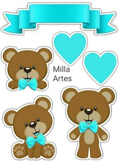 Printable Stickers, Planner Stickers, Bear Theme, Baby Shawer, Baby Shower Decorations For Boys, Baby Album, 3d Cards, Handmade Birthday Cards, Digital Stamps