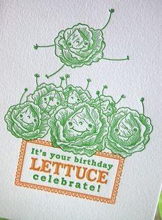 Lettuce Celebrate Letterpress Birthday Card by pupandpony on Etsy, $4.95
