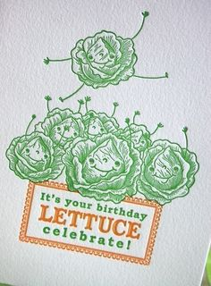 Lettuce Celebrate Letterpress Birthday Card by pupandpony on Etsy, $4.95