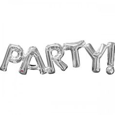 "Word Balloon Banner PARTY 33"" Silver"