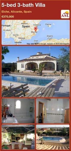 5-bed 3-bath Villa in Elche, Alicante, Spain ►€370,000 #PropertyForSaleInSpain Automatic Gate, Alicante Spain, Summer Kitchen, Central Heating, Murcia, Seville, Malaga, Beautiful Beaches, Townhouse