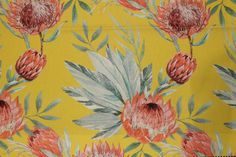 King Protea-Yellow - U&G Fabrics King Protea, Fabrics, Yellow, Painting, Art, Tejidos, Art Background, Painting Art, Kunst