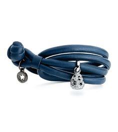 Ole Lynggaard Copenhagen Petrol Blue leather bracelet with a sweet drops charm, lace, 18ct white gold set diamonds = 0.58ct - Kennedy Jewellers