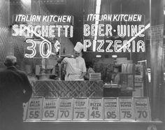 A chef cooks spaghetti at an Italian restaurant in Manhattan - 1953