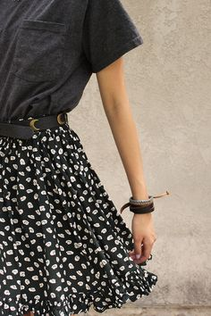 t-shirt and belted skirt