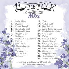 Lettering Challenge #letterattackchallenge - 31 Begriffe und Sätze für den Monat März zum Üben von Brush und Hand Lettering Instagram Challenge, Hakuna Matata, Drawing Challenge, Art Challenge, Brush Lettering Alphabet, Pigma Micron, Drawing Prompt, Artist Pens, Art Prompts