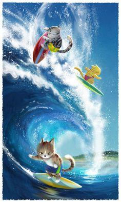 Pawsome Surfers art print van ArtbyVW op Etsy