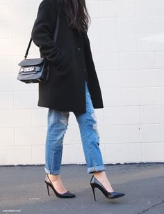 My fav look! Boyfriend jeans and heels!