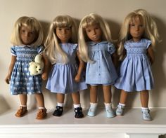 Sasha dolls in blue Doll Toys, Dolls, Smocking Patterns, Sasha Doll, Cat Doll, What To Make, Doll Clothes, Flower Girl Dresses, Blue And White