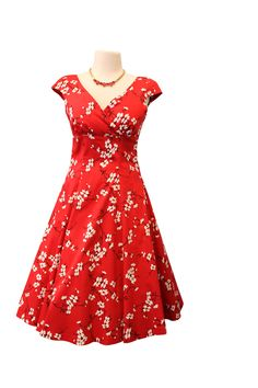 Empire in cherry blossom red 1950s style dress from Retrospec'd. More vintage dresses and skirts are available in our online boutique.