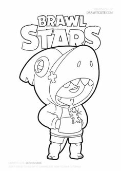 Shark Leon skin from Brawl Stars. Star Coloring Pages, Coloring Pages For Boys, Animal Coloring Pages, Coloring Books, Blow Stars, Marshmello Wallpapers, Black Paper Drawing, Skin Drawing, 8 Bits