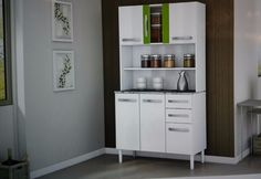 mueble de cocina alacena armario 6 puertas 2 cajones vidrio