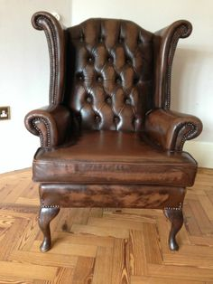 Beautiful Leather Chesterfield Queen Anne Wing Backed Chair - Brown