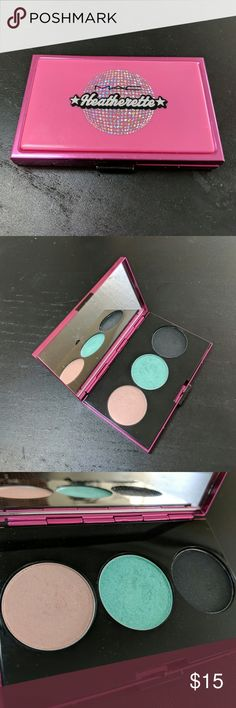 MAC Cosmetics Heatherette Eyeshadow Trio Palette I have a lightly used MAC Heatherette Palette with a light Pink, light turquoise and a shimmery black shade with turquoise glitter. I'm not sure if the shades are in order but the back says its, Hoppin, Mood Ring and Cloudburst. I have waaaay too much makeup and as much as I love these colors, I have other products that are similar. Take it off my hands! MAC Cosmetics Makeup Eyeshadow