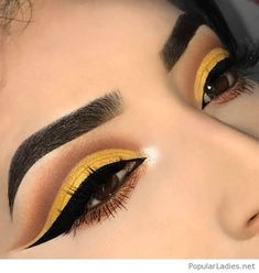 Cool yellow matte eye makeup
