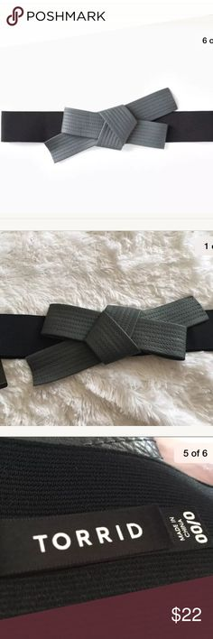 Torrid faux obi belt size L or XL GRAY Torrid Belt  Size 0/00 or L/XL  Gray faux obi bow  Elastic  New with tags!! torrid Accessories Belts