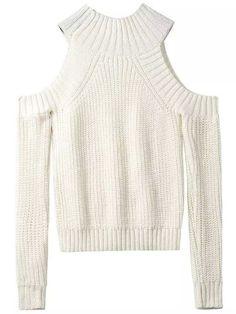 Beige Off the Shoulder Knit Sweater