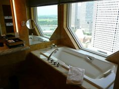 The most amazing views from the most luxurious bathroom at the Ritz Carlton Singapore