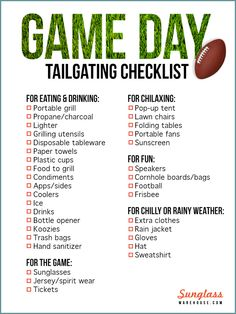 Fall means football, and football means tailgating. Prepare for another season of tailgating with this game day checklist! Football Apps, Football Tailgate, Tailgate Food, Tailgating, Football Parties, Football Season, Tailgate Decorations, Party Checklist, Portable Grill