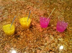 Faux Drinks for American Girl Dolls, pink and regular lemonade