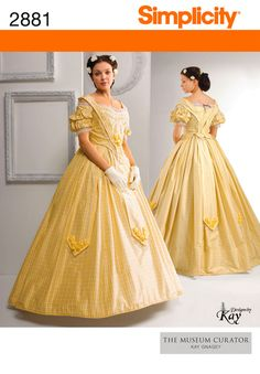 Simplicity 2881 The Museum Curator Misses Civil War Era Two Piece Dress Pattern Womens Costume Sewing Pattern Size 16 - 24 Bust 38 - 46 Uncut - Pattern Gate Costume Patterns, Dress Patterns, Sewing Patterns, Sewing Ideas, Ball Dresses, Ball Gowns, Southern Belle Costume, Victorian Gown, Victorian Fashion