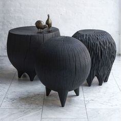 Stunning burnt, stump stools by Kieran Kinsella