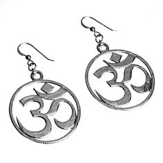Om Silver Dipped Earrings on French Hooks -- You can find out more details at the link of the image.