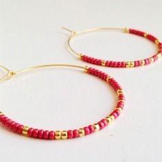 Créoles perles miyuki rose