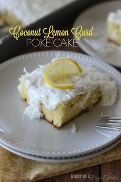 Coconut Lemon Curd Poke Cake Recipe - Filled with luscious lemon curd and topped with a 7-Minute frosting and coconut! ~ http://www.julieseatsandtreats.com