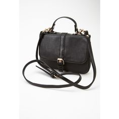 Forever 21 Buckled Faux Leather Crossbody ($23) ❤ liked on Polyvore featuring bags, handbags, shoulder bags, accessories, black, vegan handbags, forever 21, black crossbody, top handle handbags and faux leather shoulder bag