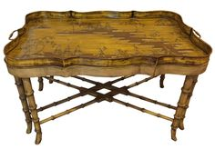 Hollywood Regency Tole Faux Bamboo Chippendale Chinoiserie Tray Table #HollywoodRegency