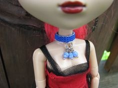 Cyan Blue Berry Nice Blythe and Pullip Fashion Doll Choker Necklace by finasma.