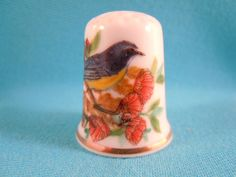 Thimble Bone China with Bird  and Flowers by EgiArt on Etsy