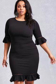 Plus Size Flounce Sheath Dress